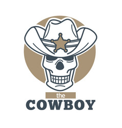 Cowboy logo skull in sheriff hat isolated on white vector