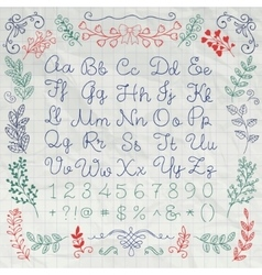 Drawn english alphabet letters and numbers on vector