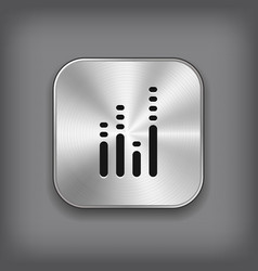 Equalizer icon - metal app button vector image