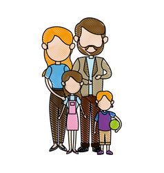 Family portrait mom and dad with childrens vector