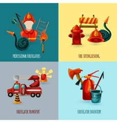 Firefighter Design Set vector image