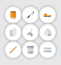 Flat icon tool set of date block letter pencil vector