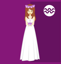 Girl in theme flowers for zodiac aquarius vector