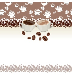 greeting card with cups of coffee vector image