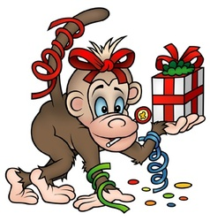 Monkey And Gift vector image vector image
