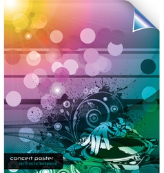 music background with dj and floral vector image