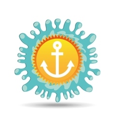 Nautical anchor summer vacation sun splashes label vector