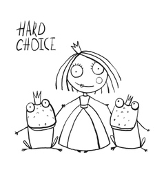 Princess making choice between two prince frogs vector