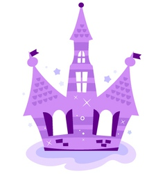 Princess sky castle isolated on white - purple vector