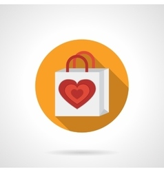 Romantic gift package flat icon vector image