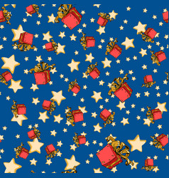 seamless background with red gift box and stars vector image