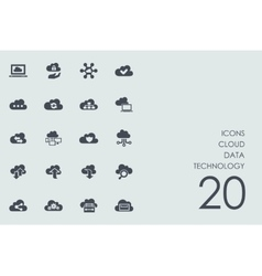 Set of cloud data technology icons vector image vector image