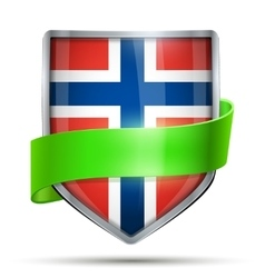 Shield with flag norway and ribbon vector