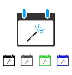 Sparkler firecracker calendar day flat icon vector
