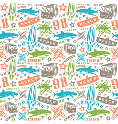 Surfing seamless pattern vector