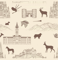 Travel seamless pattern scotland background vector