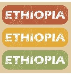 Vintage ethiopia stamp set vector