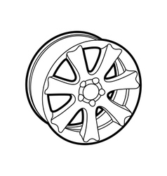 wheel on white vector image vector image