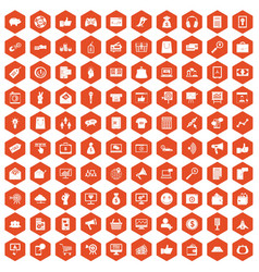 100 digital marketing icons hexagon orange vector