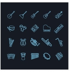 Musical instruments thin line icons vector