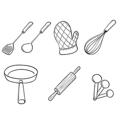 Silhouettes of kitchen utensils vector