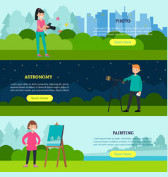 People hobbies horizontal banners vector