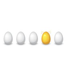 Golden egg among ordinary eggs vector