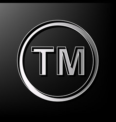 Trade mark sign  gray 3d printed icon on vector