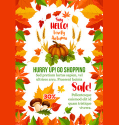 Autumn sale poster with fall season leaf frame vector