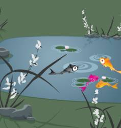 Koi fish in serene pond vector