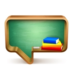 School books and blackboard vector