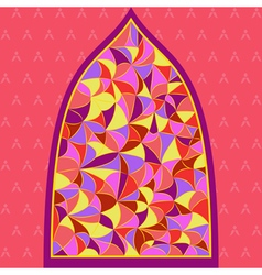 Stained glass window with different type of color vector