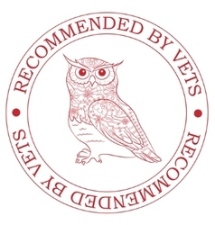 Stamp recommended by vets with owl vector