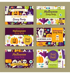 Halloween party template invitation modern flat vector