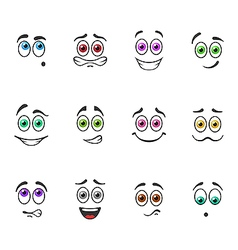 Smiles with colored eyes vector