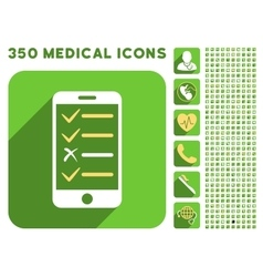 Mobile test icon and medical longshadow icon set vector
