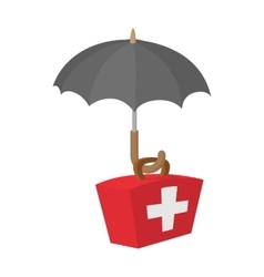 First aid kit under umbrella icon cartoon style vector