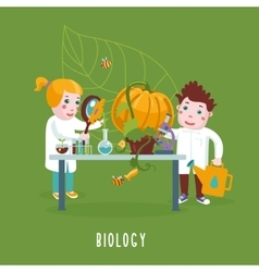 Smart kids boy and girl are studing a biology vector