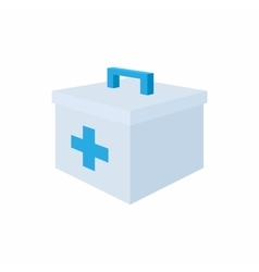 Medicine chest with blue cross icon cartoon style vector