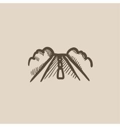 Road sketch icon vector