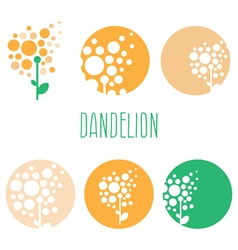 Set of concept abstract logo dandelions vector