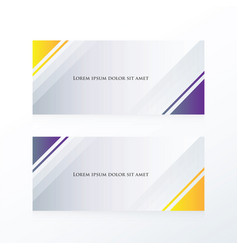 Abstract banner triangle purple yellow vector