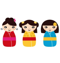 Beautiful kokeshi dolls set isolated on white vector