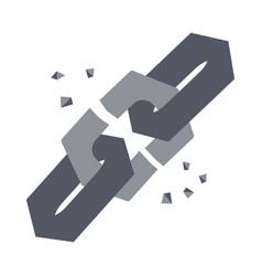 broken chain link vector image
