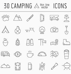 Camping Thin Line Icon Set of Adventure Elements vector image