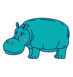 cartoon animal cute hippo on green backgrounds vector image vector image