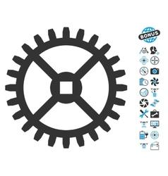 Clock gear icon with air drone tools bonus vector