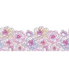 Colorful line art flowers horizontal seamless vector