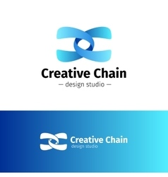 Creative abstract logo gradient blue chain vector