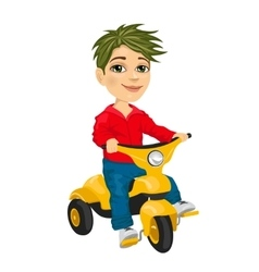 cute little boy riding a tricycle vector image vector image